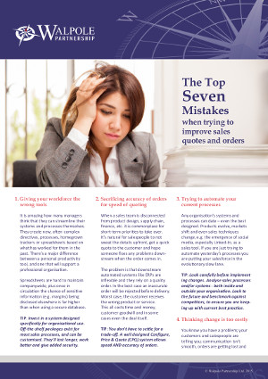 The top seven mistakes when trying to improve sales quotes and orders