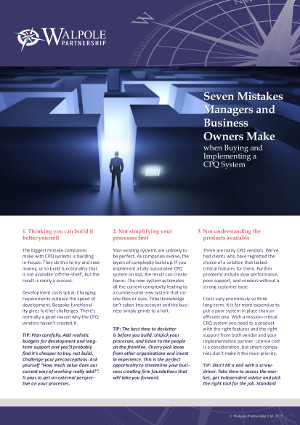 Seven mistakes managers and businessowners make when buying and implementing a CPQ system