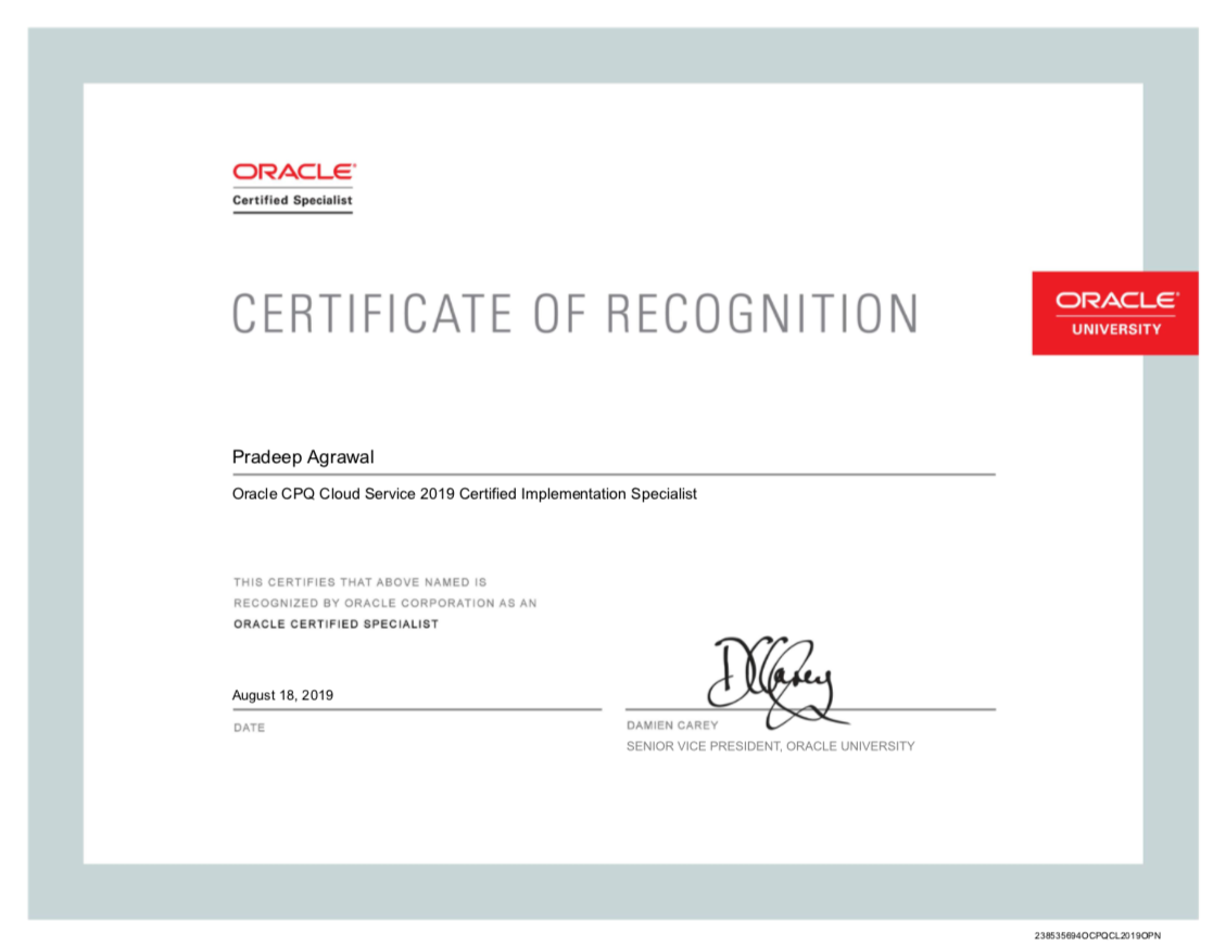 Oracle Certificate of Recognition